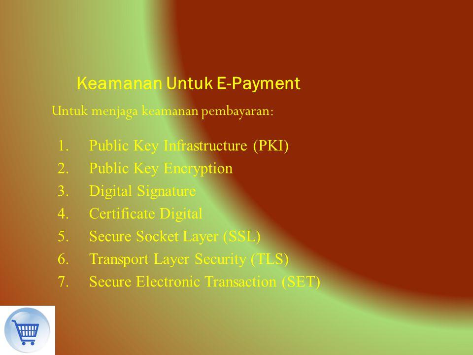Keamanan Untuk E-Payment Untuk menjaga keamanan pembayaran: 1.Public Key Infrastructure (PKI) 2.Public Key Encryption 3.Digital Signature 4.Certificat