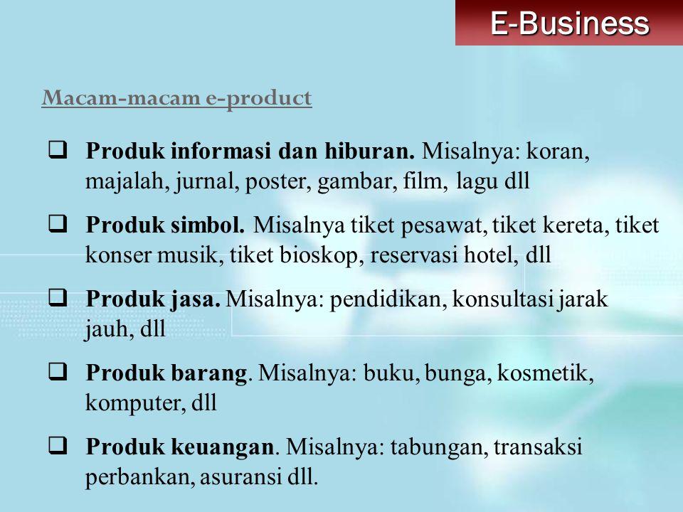 Macam-macam e-productE-Business  Produk informasi dan hiburan. Misalnya: koran, majalah, jurnal, poster, gambar, film, lagu dll  Produk simbol. Misa