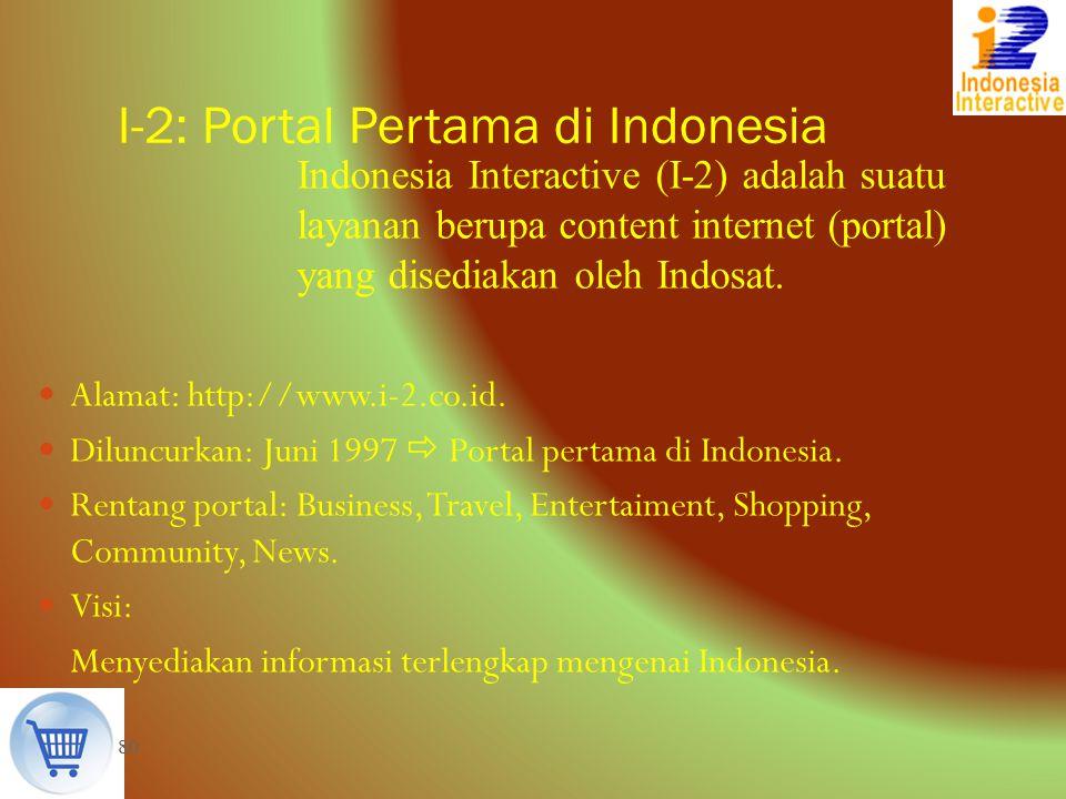 80 Indonesia Interactive (I-2) adalah suatu layanan berupa content internet (portal) yang disediakan oleh Indosat. I-2: Portal Pertama di Indonesia Al