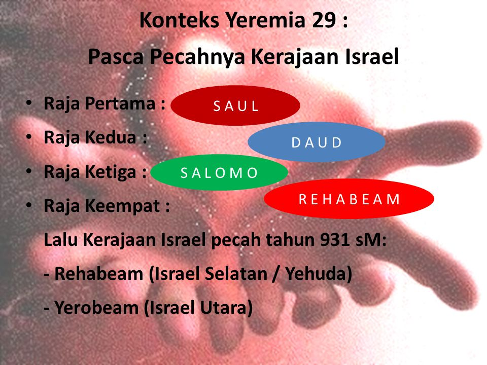 Konteks Yeremia 29 : Pasca Pecahnya Kerajaan Israel Raja Pertama : Raja Kedua : Raja Ketiga : Raja Keempat : Lalu Kerajaan Israel pecah tahun 931 sM: