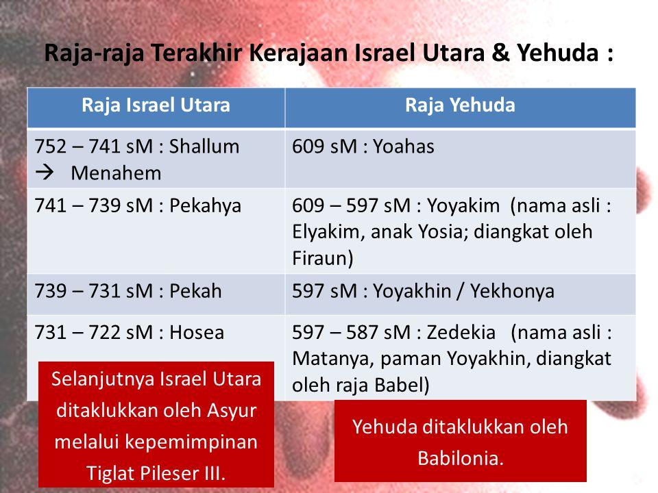 Raja-raja Terakhir Kerajaan Israel Utara & Yehuda : Raja Israel UtaraRaja Yehuda 752 – 741 sM : Shallum  Menahem 609 sM : Yoahas 741 – 739 sM : Pekah