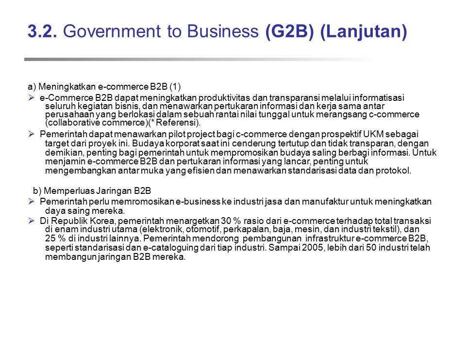 3.2. Government to Business (G2B) (Lanjutan) a) Meningkatkan e-commerce B2B (1)  e-Commerce B2B dapat meningkatkan produktivitas dan transparansi mel