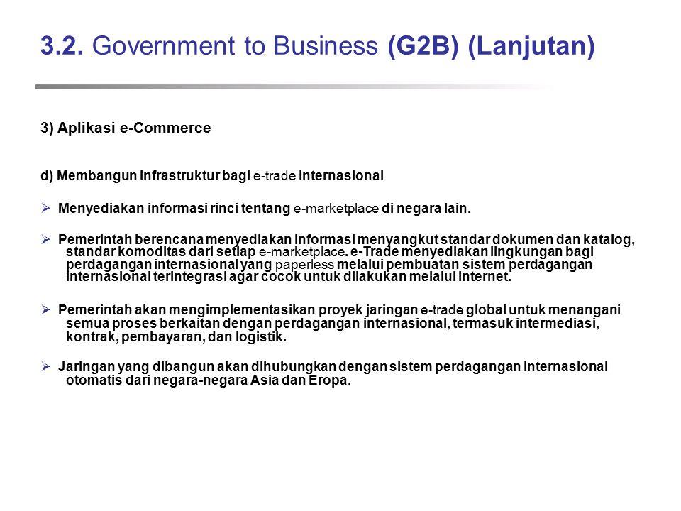 3.2. Government to Business (G2B) (Lanjutan) 3) Aplikasi e-Commerce d) Membangun infrastruktur bagi e-trade internasional  Menyediakan informasi rinc