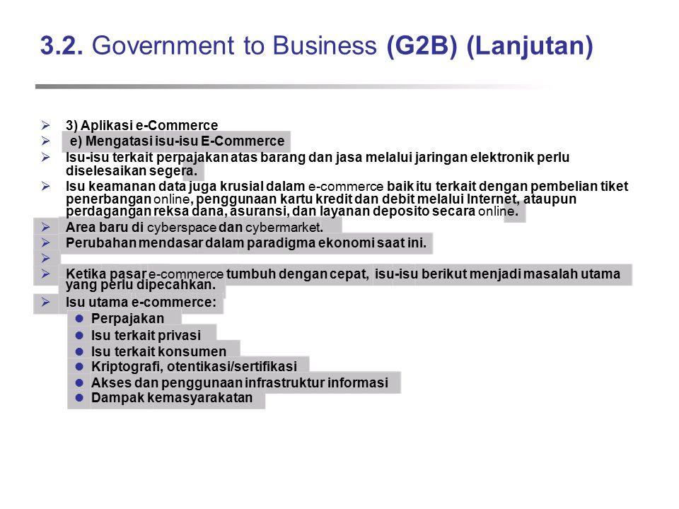 3.2. Government to Business (G2B) (Lanjutan)  3) Aplikasi e-Commerce  e) Mengatasi isu-isu E-Commerce  Isu-isu terkait perpajakan atas barang dan j