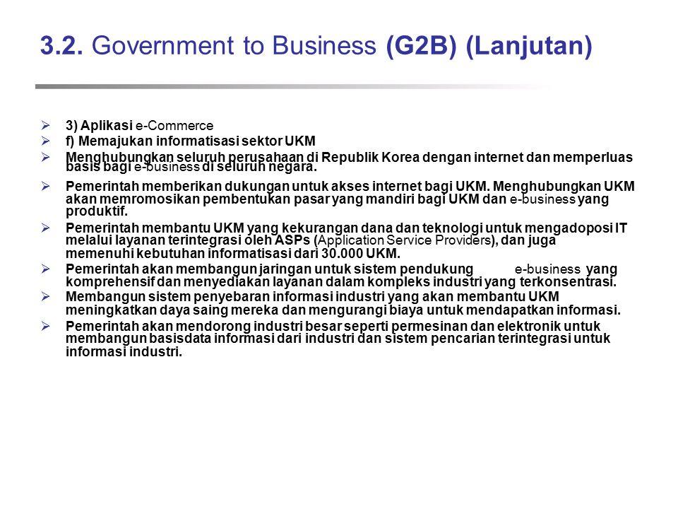 3.2. Government to Business (G2B) (Lanjutan)  3) Aplikasi e-Commerce  f) Memajukan informatisasi sektor UKM  Menghubungkan seluruh perusahaan di Re