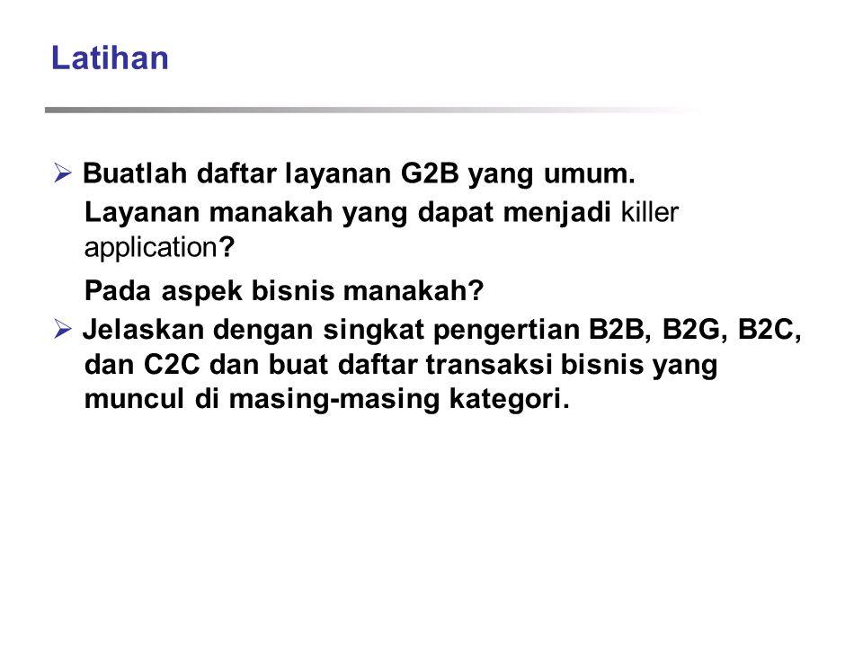 Latihan  Buatlah daftar layanan G2B yang umum.
