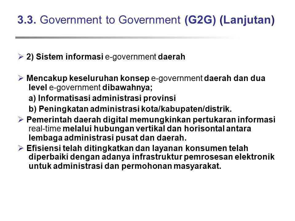 3.3. Government to Government (G2G) (Lanjutan)  2) Sistem informasi e-government daerah  Mencakup keseluruhan konsep e-government daerah dan dua lev
