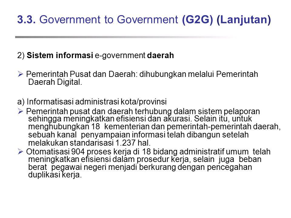 3.3. Government to Government (G2G) (Lanjutan) 2) Sistem informasi e-government daerah  Pemerintah Pusat dan Daerah: dihubungkan melalui Pemerintah D