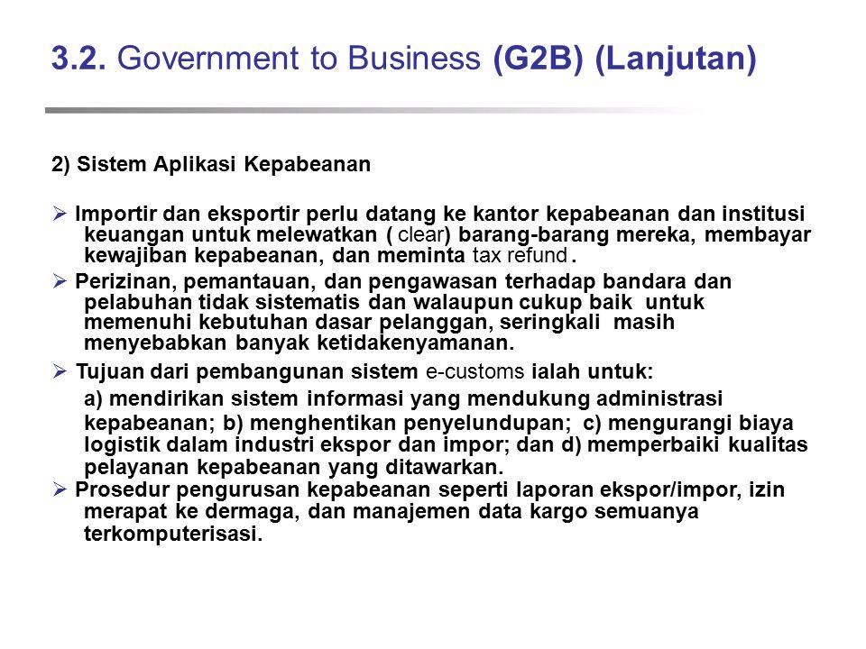 3.2. Government to Business (G2B) (Lanjutan) 2) Sistem Aplikasi Kepabeanan  Importir dan eksportir perlu datang ke kantor kepabeanan dan institusi ke