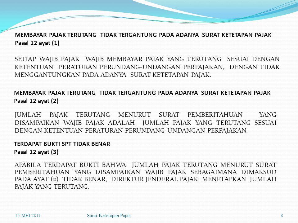 Surat Ketetapan Pajak MEMBAYAR PAJAK TERUTANG TIDAK TERGANTUNG PADA ADANYA SURAT KETETAPAN PAJAK Pasal 12 ayat (1) SETIAP WAJIB PAJAK WAJIB MEMBAYAR P