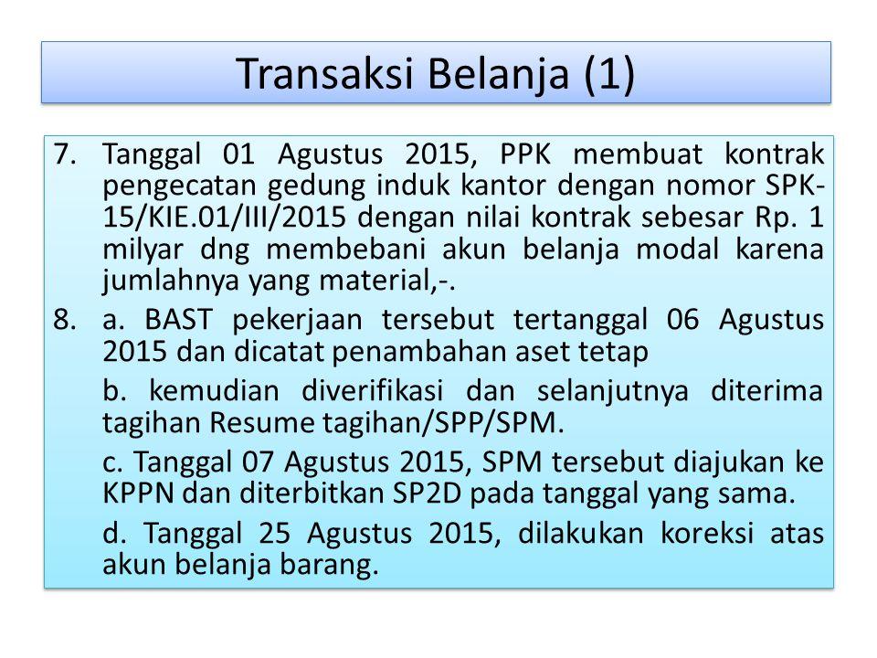 Transaksi Belanja (1) 7.Tanggal 01 Agustus 2015, PPK membuat kontrak pengecatan gedung induk kantor dengan nomor SPK- 15/KIE.01/III/2015 dengan nilai kontrak sebesar Rp.