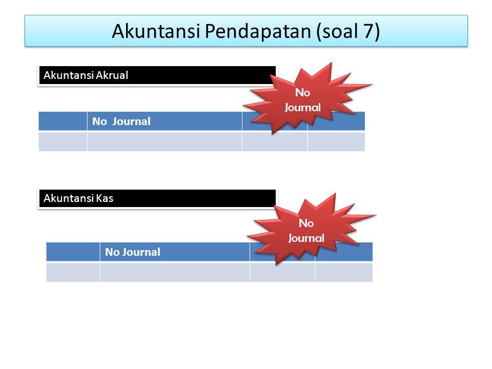 Akuntansi Pendapatan (soal 7) No Journal Akuntansi Akrual Akuntansi Kas No Journal