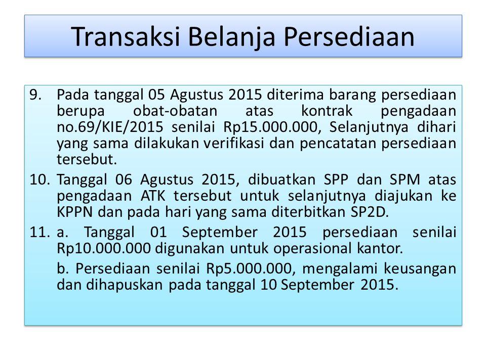 Transaksi Belanja Persediaan 9.Pada tanggal 05 Agustus 2015 diterima barang persediaan berupa obat-obatan atas kontrak pengadaan no.69/KIE/2015 senilai Rp15.000.000, Selanjutnya dihari yang sama dilakukan verifikasi dan pencatatan persediaan tersebut.