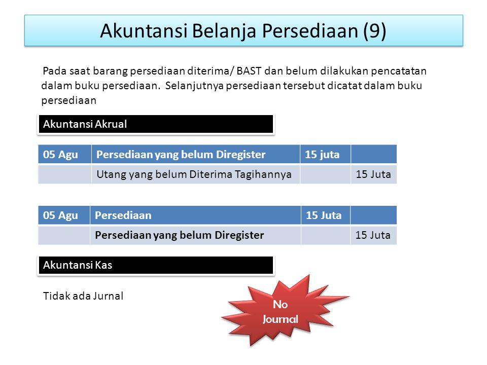 Akuntansi Belanja Persediaan (9) 05 AguPersediaan yang belum Diregister15 juta Utang yang belum Diterima Tagihannya15 Juta Pada saat barang persediaan diterima/ BAST dan belum dilakukan pencatatan dalam buku persediaan.