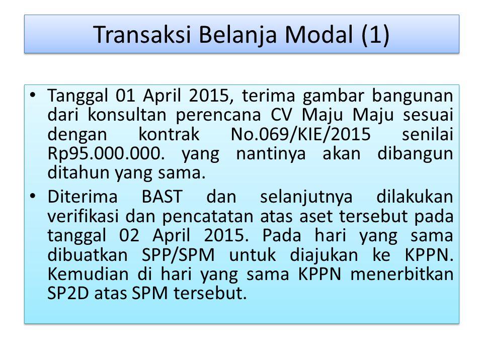 Transaksi Belanja Modal (1) Tanggal 01 April 2015, terima gambar bangunan dari konsultan perencana CV Maju Maju sesuai dengan kontrak No.069/KIE/2015 senilai Rp95.000.000.