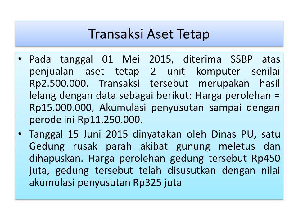 Transaksi Aset Tetap Pada tanggal 01 Mei 2015, diterima SSBP atas penjualan aset tetap 2 unit komputer senilai Rp2.500.000.