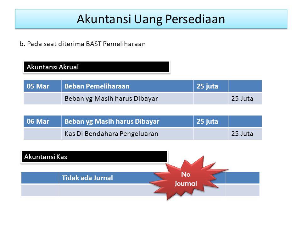 Akuntansi Uang Persediaan 05 MarBeban Pemeliharaan25 juta Beban yg Masih harus Dibayar25 Juta b.