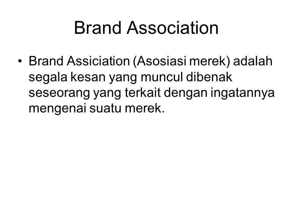 Brand Association Brand Assiciation (Asosiasi merek) adalah segala kesan yang muncul dibenak seseorang yang terkait dengan ingatannya mengenai suatu m