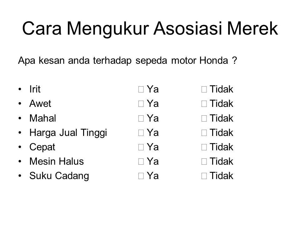 Cara Mengukur Asosiasi Merek Apa kesan anda terhadap sepeda motor Honda ? Irit  Ya  Tidak Awet  Ya  Tidak Mahal  Ya  Tidak Harga Jual Tinggi  Y