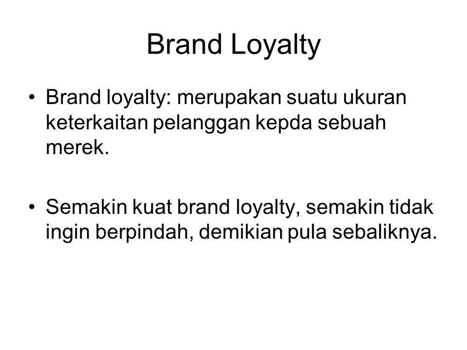 Brand Loyalty Brand loyalty: merupakan suatu ukuran keterkaitan pelanggan kepda sebuah merek. Semakin kuat brand loyalty, semakin tidak ingin berpinda