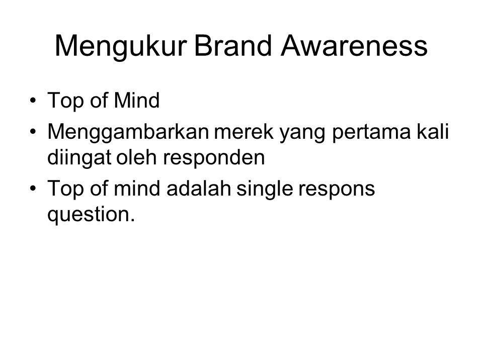 Mengukur Brand Awareness Top of Mind Menggambarkan merek yang pertama kali diingat oleh responden Top of mind adalah single respons question.