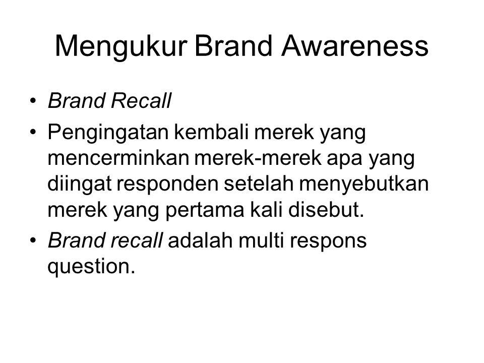 Mengukur Brand Awareness Brand Recall Pengingatan kembali merek yang mencerminkan merek-merek apa yang diingat responden setelah menyebutkan merek yan