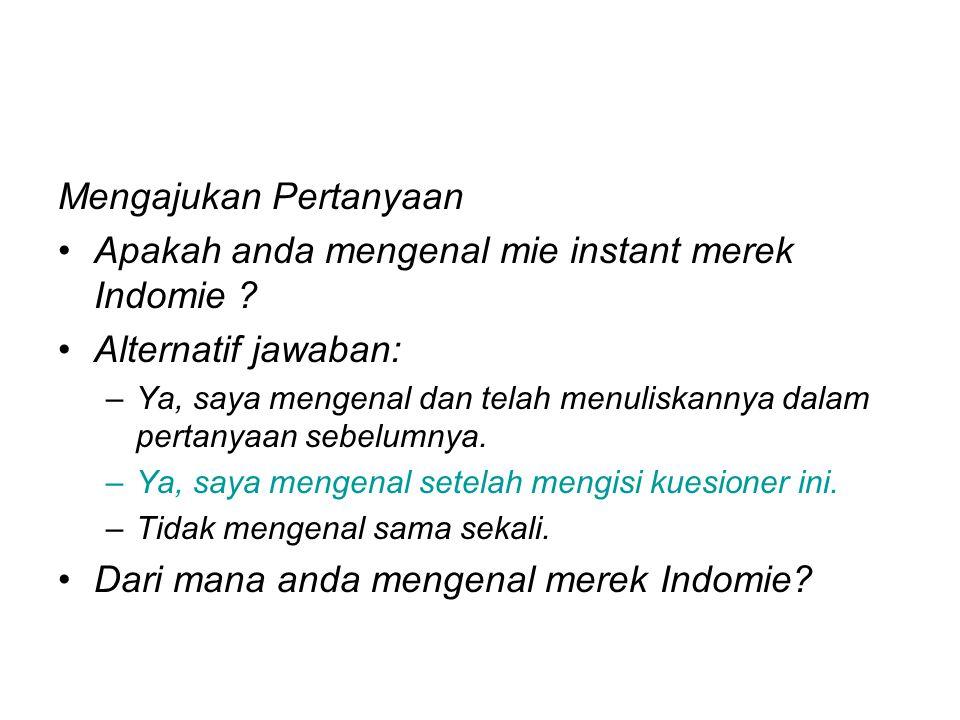Mengajukan Pertanyaan Apakah anda mengenal mie instant merek Indomie ? Alternatif jawaban: –Ya, saya mengenal dan telah menuliskannya dalam pertanyaan