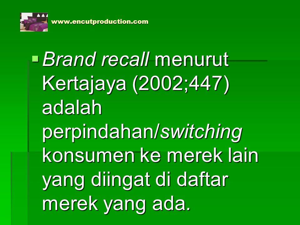 www.encutproduction.com www.encutproduction.com  Brand recall menurut Kertajaya (2002;447) adalah perpindahan/switching konsumen ke merek lain yang d