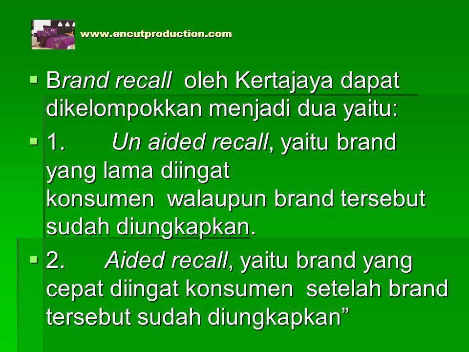 www.encutproduction.com www.encutproduction.com  Brand recall oleh Kertajaya dapat dikelompokkan menjadi dua yaitu:  1. Un aided recall, yaitu brand