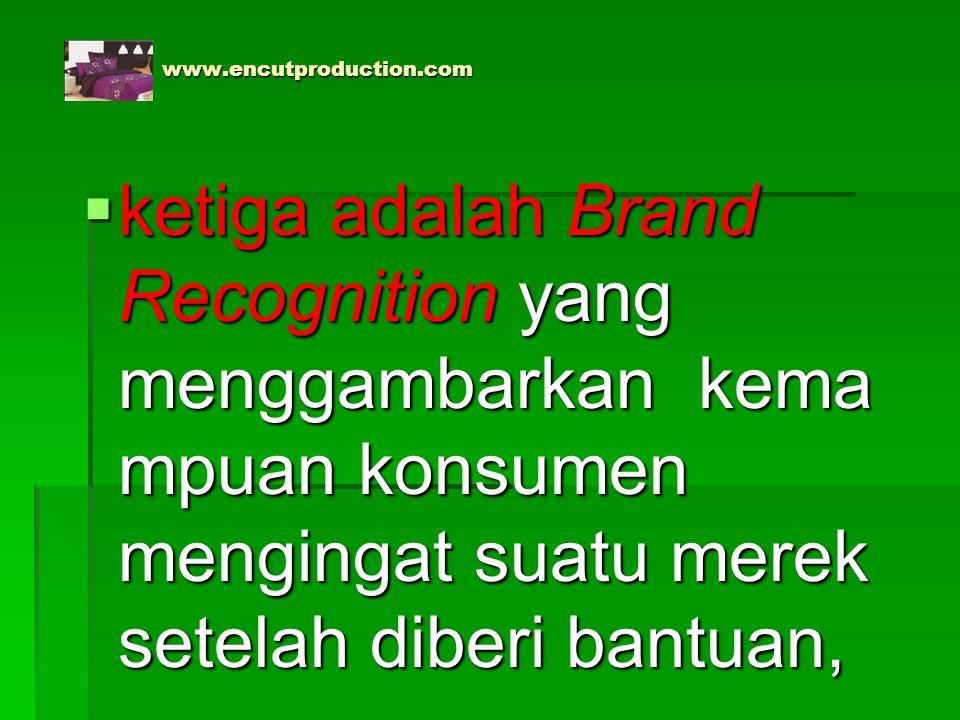 www.encutproduction.com www.encutproduction.com  ketiga adalah Brand Recognition yang menggambarkan kema mpuan konsumen mengingat suatu merek setelah