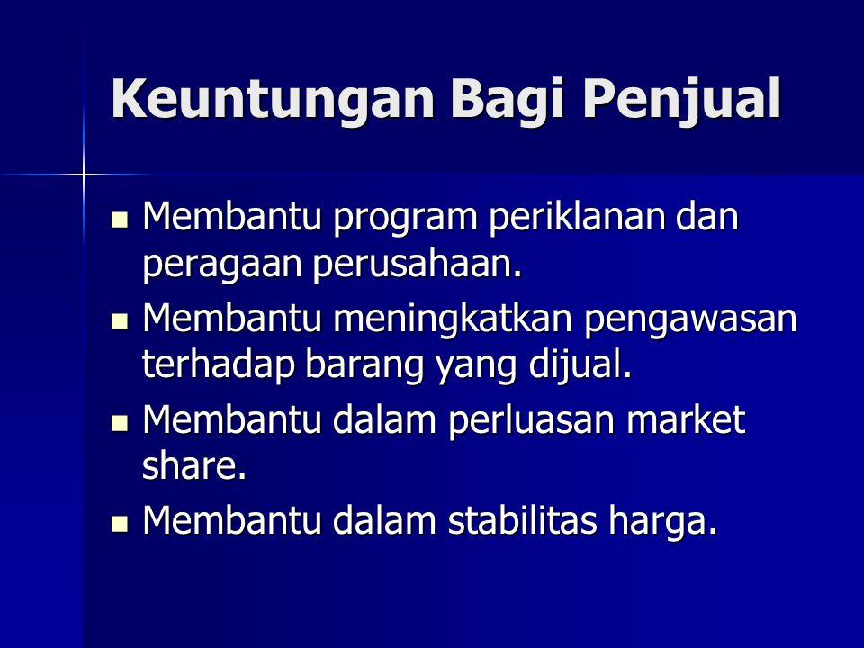 Keuntungan Bagi Penjual Membantu program periklanan dan peragaan perusahaan.