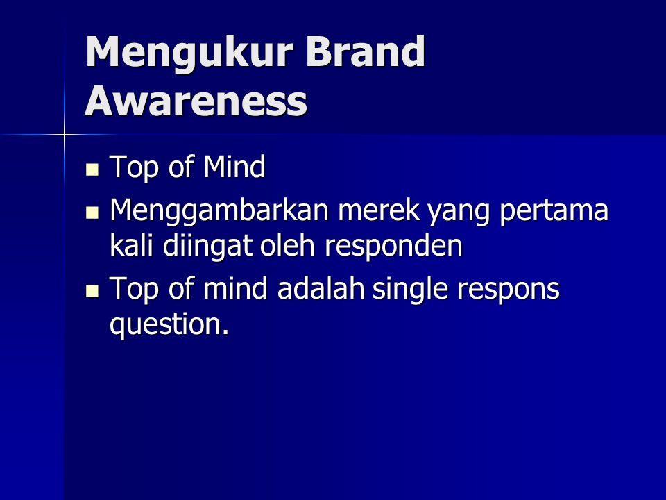 Mengukur Brand Awareness Top of Mind Top of Mind Menggambarkan merek yang pertama kali diingat oleh responden Menggambarkan merek yang pertama kali diingat oleh responden Top of mind adalah single respons question.
