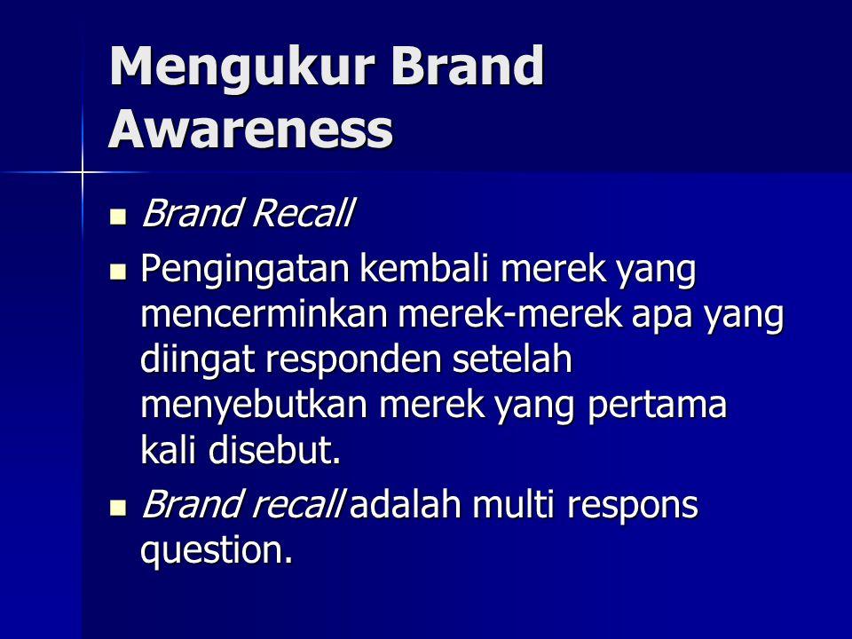 Mengukur Brand Awareness Brand Recall Brand Recall Pengingatan kembali merek yang mencerminkan merek-merek apa yang diingat responden setelah menyebutkan merek yang pertama kali disebut.