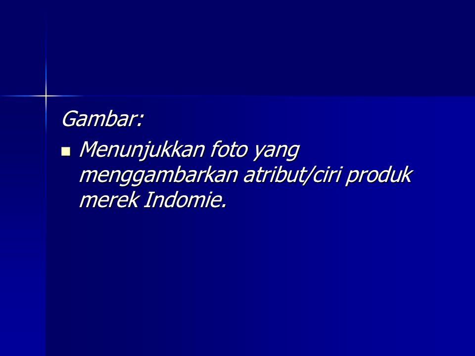 Gambar: Menunjukkan foto yang menggambarkan atribut/ciri produk merek Indomie.