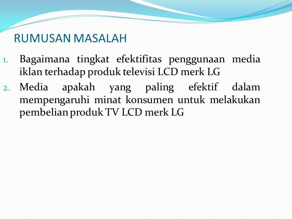 Untuk dapat mengetahui seberapa besar tingkat efektifitas penggunaan media iklan terhadap minat konsumen untuk membeli produk TV LCD merk LG.