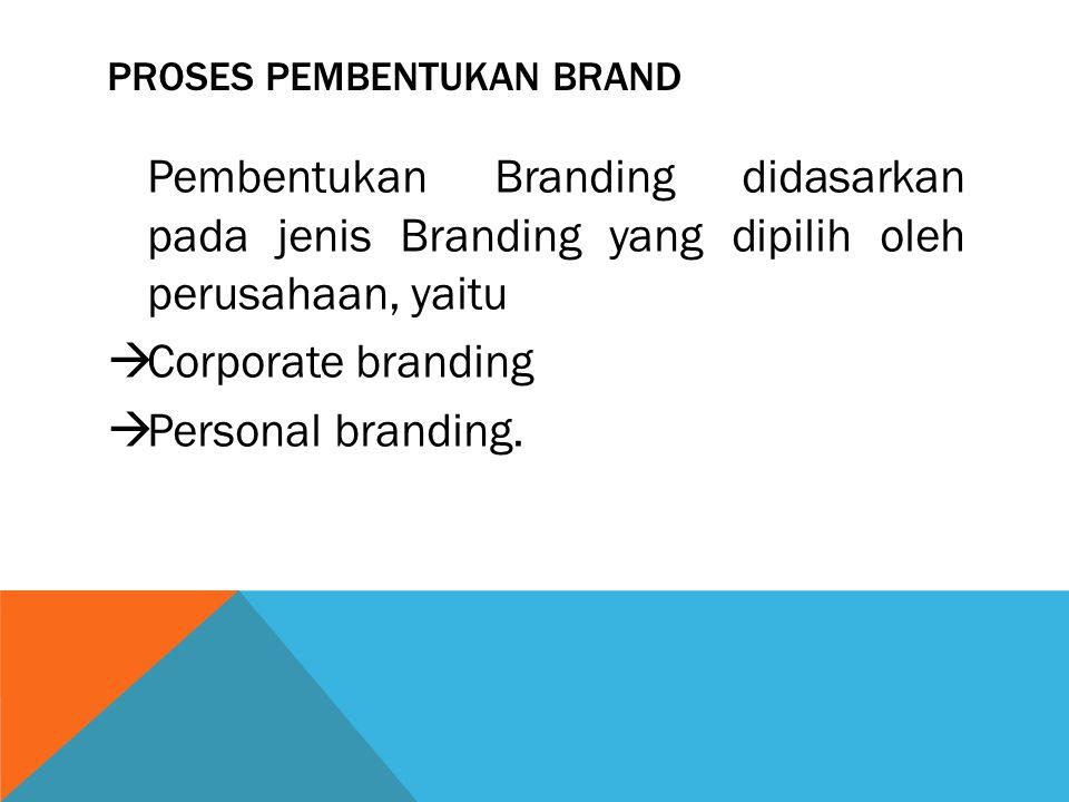 PROSES PEMBENTUKAN BRAND Pembentukan Branding didasarkan pada jenis Branding yang dipilih oleh perusahaan, yaitu  Corporate branding  Personal brand