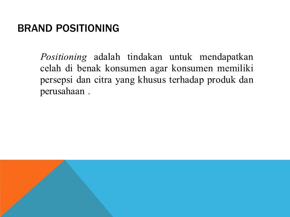 BRAND POSITIONING Positioning adalah tindakan untuk mendapatkan celah di benak konsumen agar konsumen memiliki persepsi dan citra yang khusus terhadap