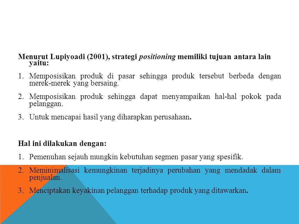 Menurut Lupiyoadi (2001), strategi positioning memiliki tujuan antara lain yaitu: 1.Memposisikan produk di pasar sehingga produk tersebut berbeda deng
