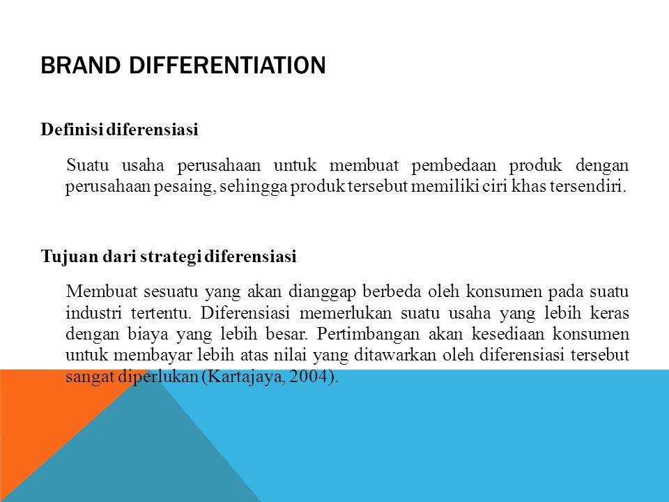 BRAND DIFFERENTIATION Definisi diferensiasi Suatu usaha perusahaan untuk membuat pembedaan produk dengan perusahaan pesaing, sehingga produk tersebut