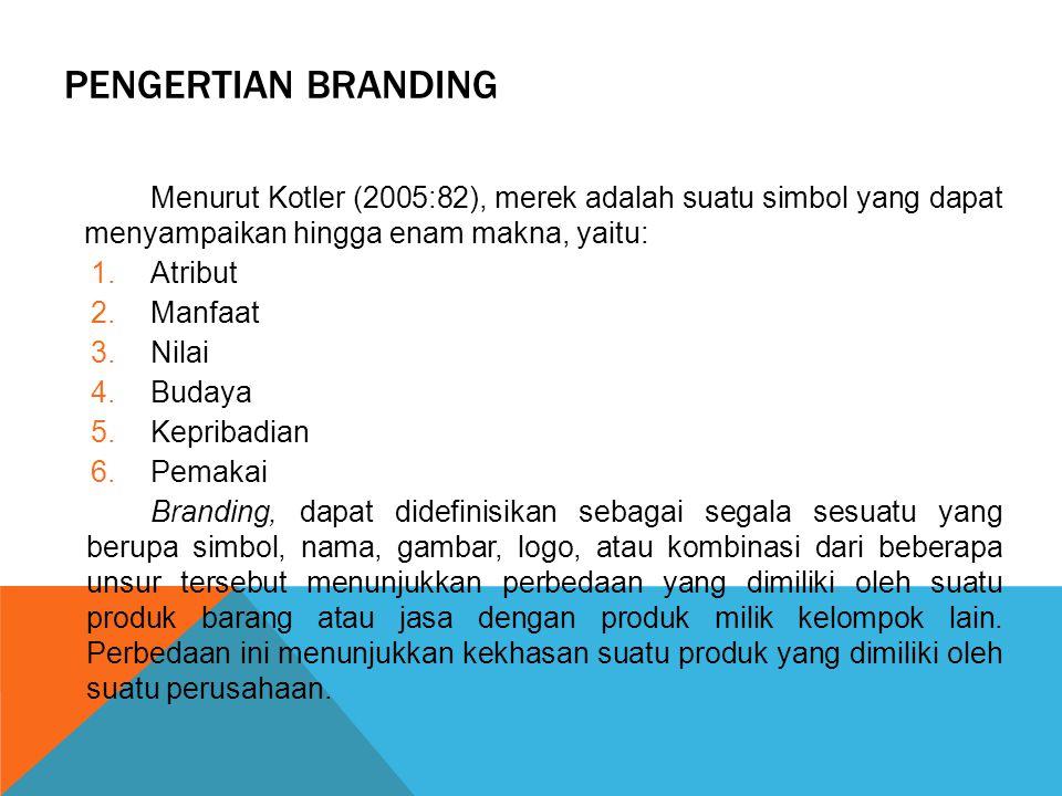 PENGERTIAN BRANDING Menurut Kotler (2005:82), merek adalah suatu simbol yang dapat menyampaikan hingga enam makna, yaitu: 1.Atribut 2.Manfaat 3.Nilai