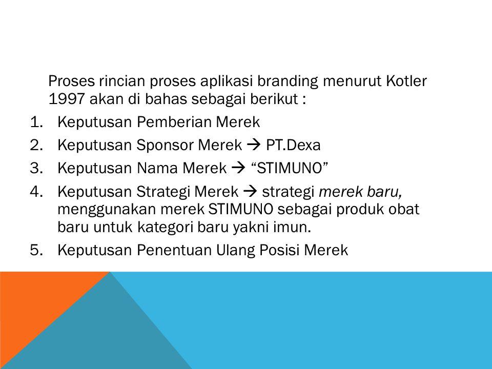 Proses rincian proses aplikasi branding menurut Kotler 1997 akan di bahas sebagai berikut : 1.Keputusan Pemberian Merek 2.Keputusan Sponsor Merek  PT