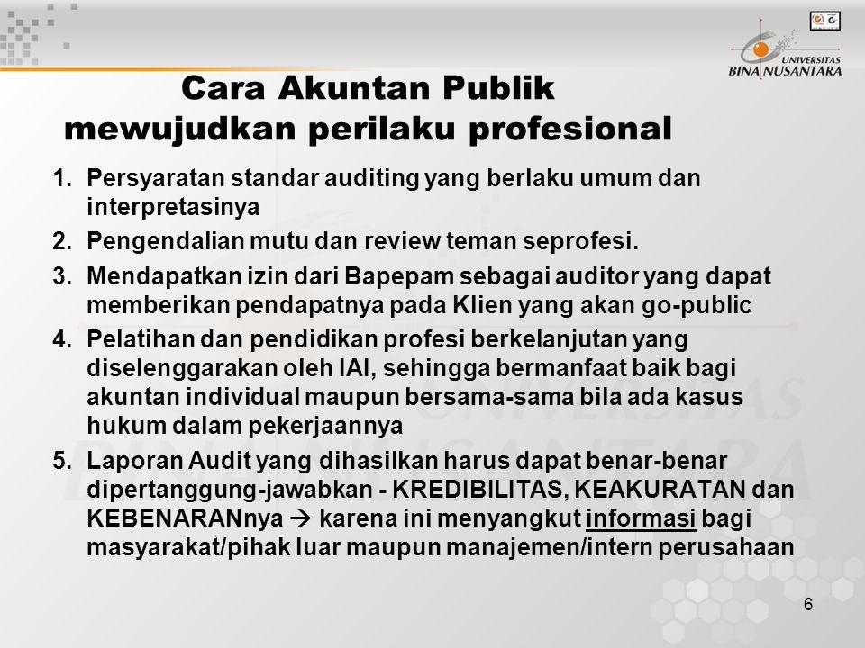 6 Cara Akuntan Publik mewujudkan perilaku profesional 1.Persyaratan standar auditing yang berlaku umum dan interpretasinya 2.Pengendalian mutu dan rev
