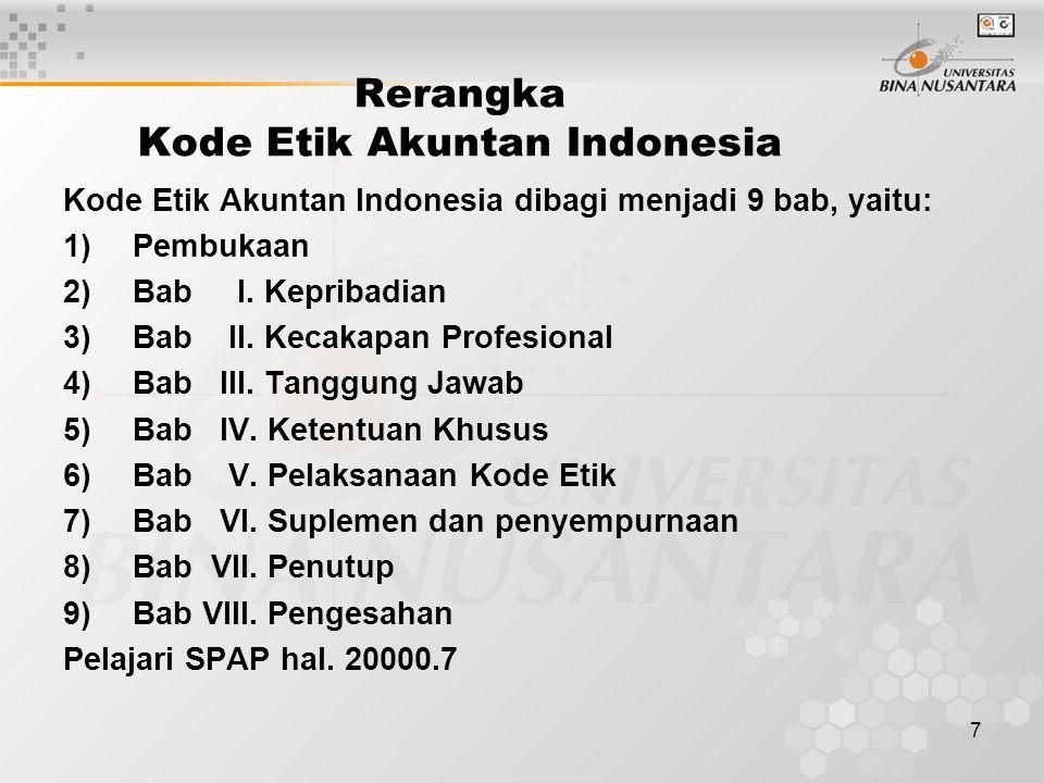 7 Rerangka Kode Etik Akuntan Indonesia Kode Etik Akuntan Indonesia dibagi menjadi 9 bab, yaitu: 1)Pembukaan 2)Bab I. Kepribadian 3)Bab II. Kecakapan P