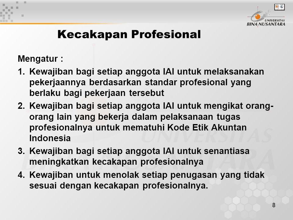 8 Kecakapan Profesional Mengatur : 1.Kewajiban bagi setiap anggota IAI untuk melaksanakan pekerjaannya berdasarkan standar profesional yang berlaku ba