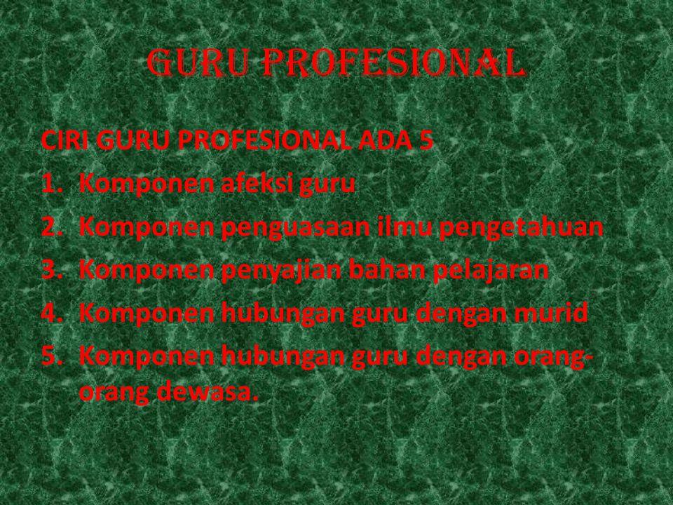 GURU PROFESIONAL CIRI GURU PROFESIONAL ADA 5 1.Komponen afeksi guru 2.Komponen penguasaan ilmu pengetahuan 3.Komponen penyajian bahan pelajaran 4.Komp