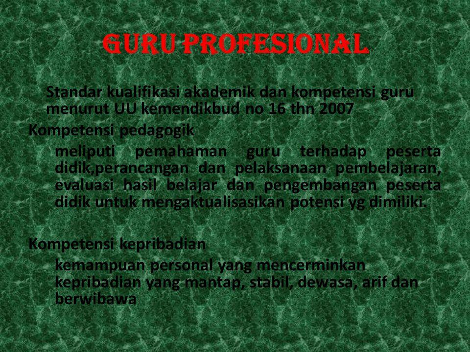 GURU PROFESIONAL Standar kualifikasi akademik dan kompetensi guru menurut UU kemendikbud no 16 thn 2007 Kompetensi pedagogik meliputi pemahaman guru t