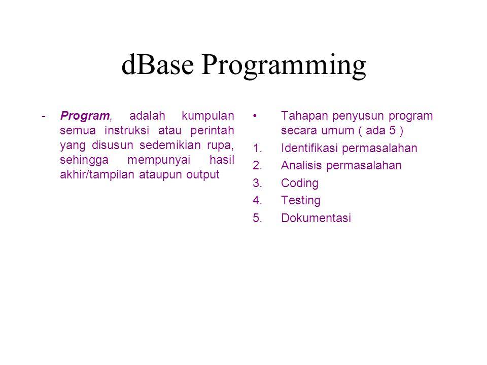 Tahap pembuatan dBase Programming Buat program ( contoh adhie.prg ) dengan menggunakan perintah modify commad ____ Muncul editor text.