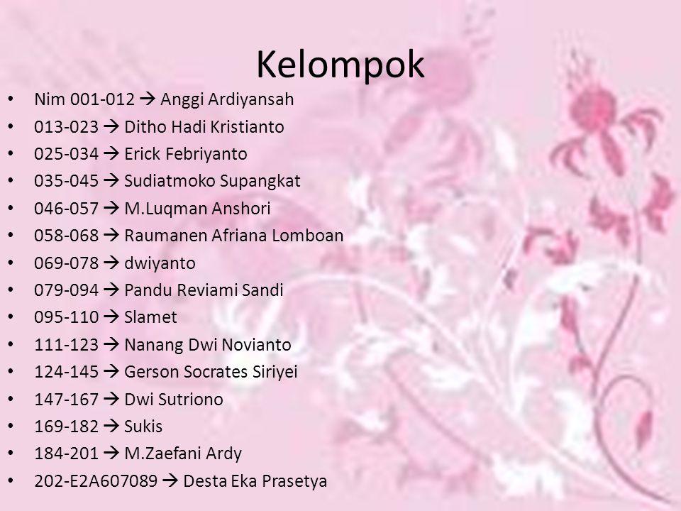 Kelompok Nim 001-012  Anggi Ardiyansah 013-023  Ditho Hadi Kristianto 025-034  Erick Febriyanto 035-045  Sudiatmoko Supangkat 046-057  M.Luqman A