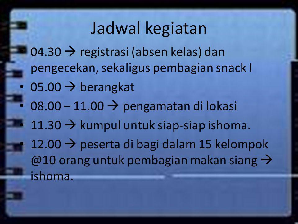 Jadwal kegiatan 04.30  registrasi (absen kelas) dan pengecekan, sekaligus pembagian snack I 05.00  berangkat 08.00 – 11.00  pengamatan di lokasi 11