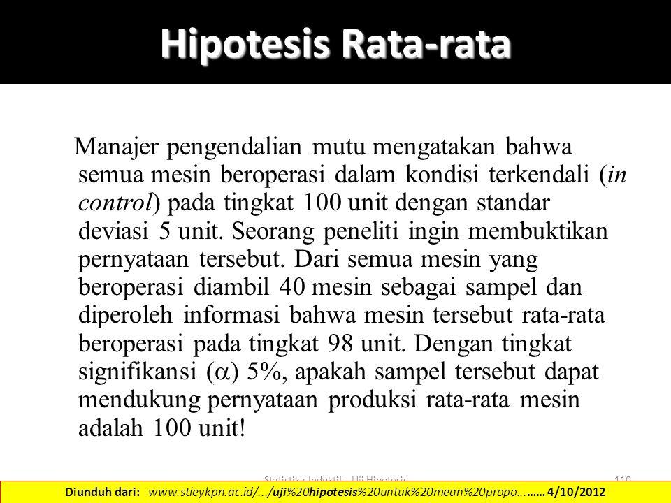 Statistika Induktif - Uji Hipotesis110 Hipotesis Rata-rata Manajer pengendalian mutu mengatakan bahwa semua mesin beroperasi dalam kondisi terkendali